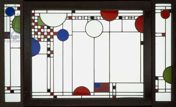 Avery Coonley Playhouse: Triptych Window, 1912 (clear & coloured leaded glass in oak frames)