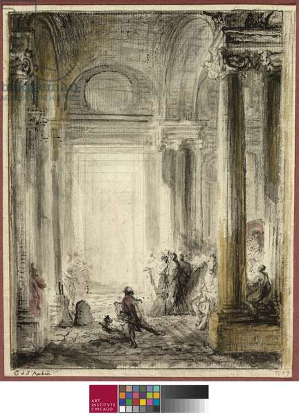 The Entrance of the Academy of Architecture at the Louvre, 1779 (ink, wash & chalk on paper)