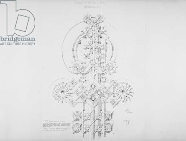 System of Architectural Ornament: Plate 11, Values of Parallel Planes (Parallelism), 1922-23 (graphite on strathmore paper)