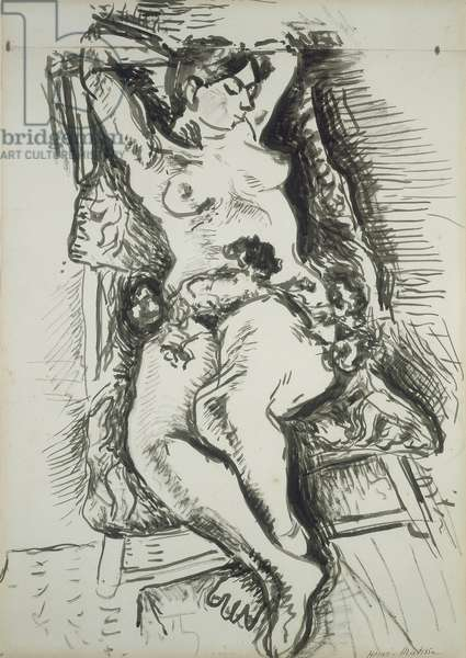 Nude in a Folding Chair, c.1906 (brush & black ink with pen & black ink on ivory laid paper, pieced at top edge)
