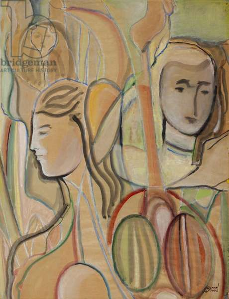 Las hijas del hortelano (The Gardener's Daughters), 1942 (w/c & gouache over white chalk on tan wove paper)