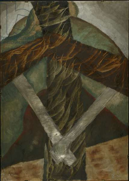 Telegraph Pole, 1929 (oil, metallic paint & pencil, on steel plate)