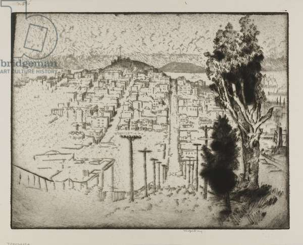 Telegraph Hill (etching on paper)