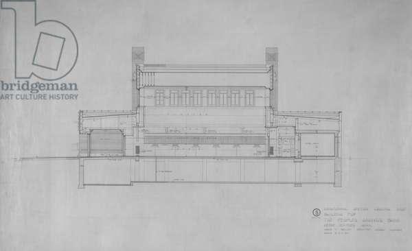 Peoples Savings Bank, Cedar Rapids, Iowa: Longitudinal Section Looking East, 1909-11 (black & red ink on linen)