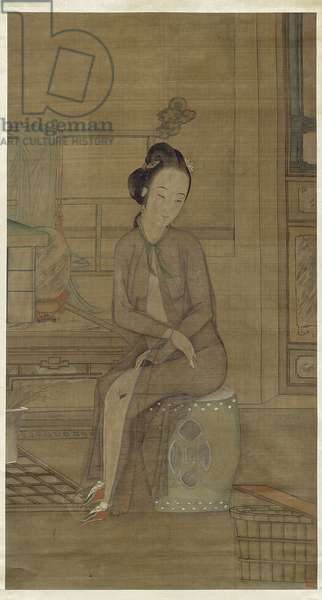 Beauty About to Bathe, Qing dynasty (hanging scroll with ink & colours on silk)