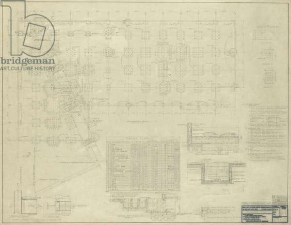 860-880 North Lake Shore Drive: Foundation Plan, 11-9-1949 (graphite on linen)