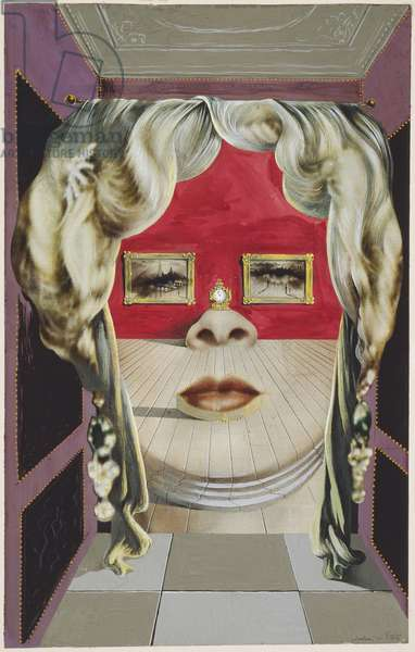 Mae West's Face which May be Used as a Surrealist Apartment, 1934-35 (gouache with graphite, on commercially printed magazine page)