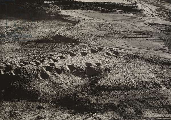 Mine Craters, Combres Hill (scene of some of bitterest fighting of the war, an active sector for four years), 1918-19  (gelatin silver print, from loose-leaf album of aerial photographs from the photographic section, air service, american expeditionary forces, world war I)
