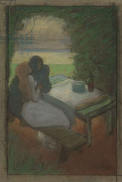 Lovers in an Arbor, c.1895 (pastel on paper)