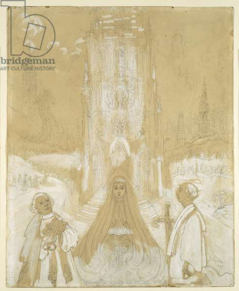 Project for a Chapel Dedicated to Saints Peter and Paul, 1897 (graphite, wash & gouache on paper)