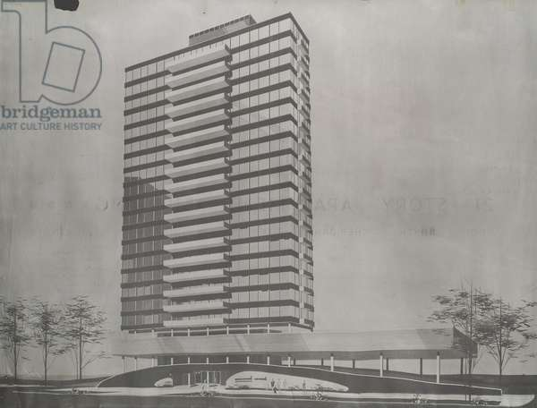 The Statesman - 21 Story Apartment Building: Architectural Working Drawings, A1-A14, c.1961 (blackline on mylar)