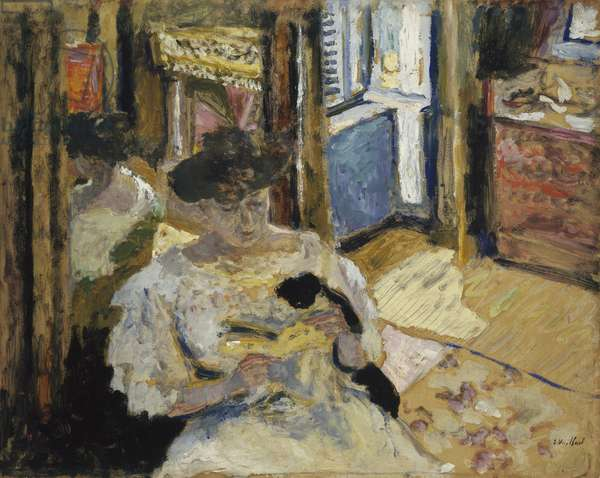 The Dressing-Room, Madame Hessel Reading at Amfréville, 1906 (oil and tempera on cardboard)
