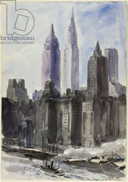 New York, 1932 (watercolour, over graphite, on off-white watercolour paper)