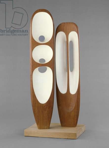 Two Figures (Menhirs), c.1954-55 (teak & paint)