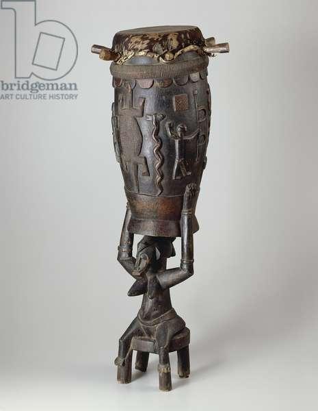 Ceremonial Drum (Pinge), 1930-50 (wood, hide & applied color)