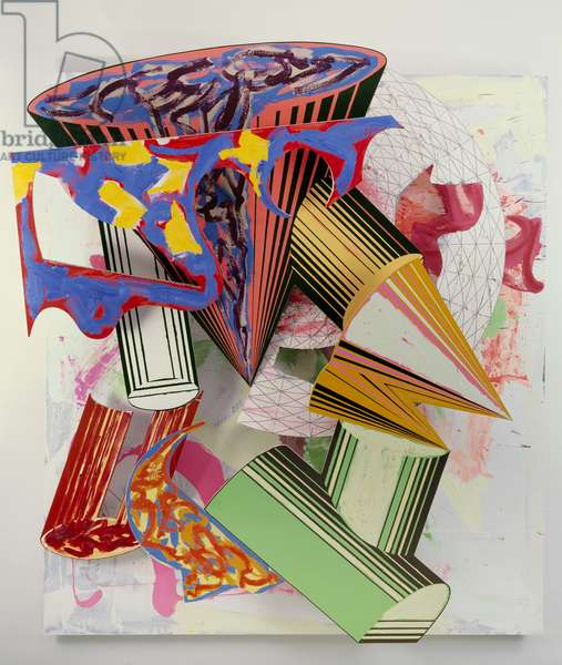 Gobba, zoppa e collotorto, 1985 (oil, urethane enamel, fluorescent alkyd, acrylic, & printing ink on etched magnesium & aluminium)