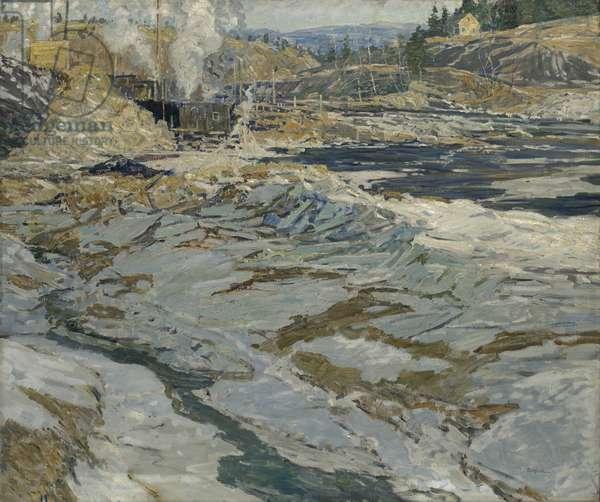 Building The Cofferdam, c.1914 (oil on canvas)