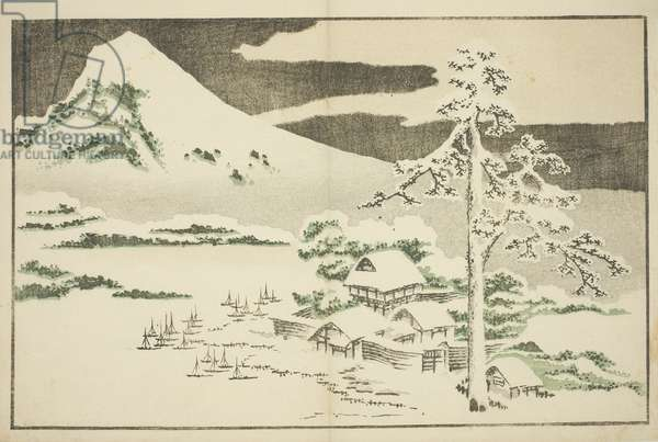 Mount Fuji in Winter, from The Picture Book of Realistic Paintings of Hokusai (Hokusai shashin gafu), c.1814 (colour woodblock print)