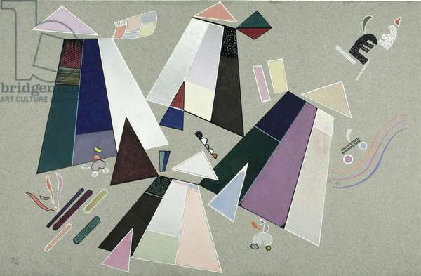 Untitled (Composition with Grey Background), 1941 (gouache on gray paper)