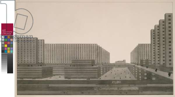 Highrise City (Hochhausstadt): Perspective View: East-West Street, 1924 (ink & w/c on paper)