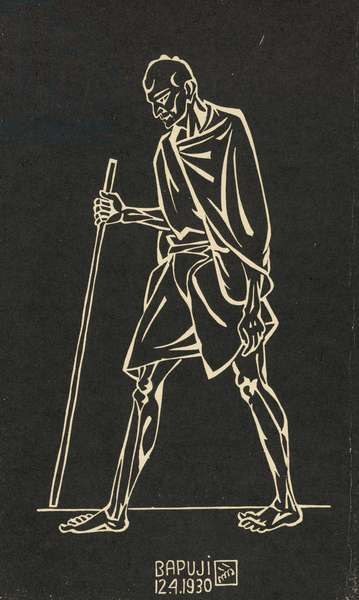 Mahatma Gandhi (Bapuji) on the Dandi March, 1930 (linocut print on paper)