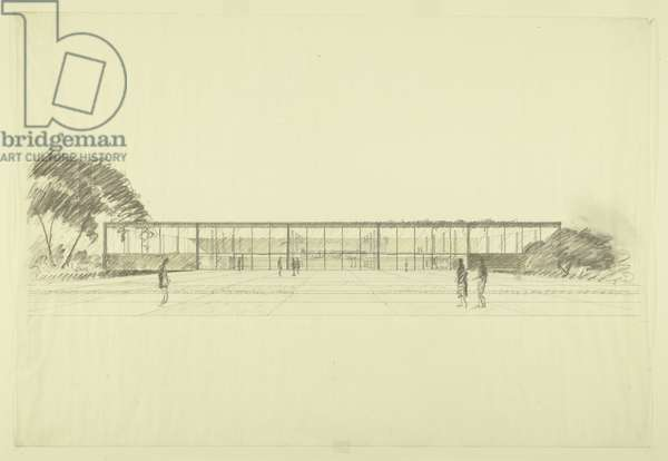 Illinois Institute of Technology: Library and Administration Building Proposal, c.1944 (charcoal, graphite, & yellow pencil on tracing paper)