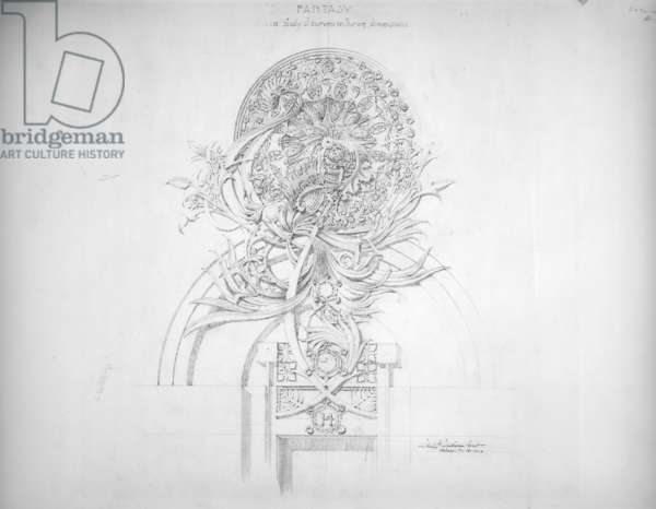 System of Architectural Ornament: Plate 14, Fantasy, 1922-23 (graphite on strathmore paper)