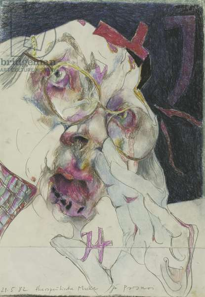 Therapeutic Mask, from Paranoia Series, 1982 (pastel & graphite on cream wove paper, pieced at bottom)