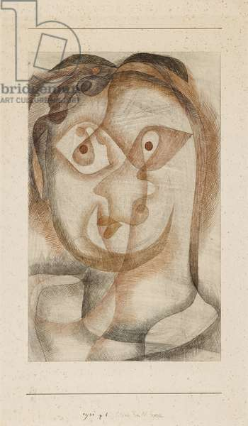 Portrait of Mrs. Bl., 1931 (pen & black & brown ink & graphite with smudging on off-white wove paper, laid down on ivory wove card)