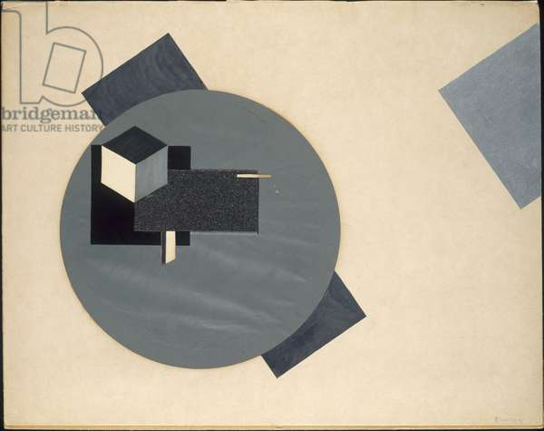 Proun, 1920 (collage of various cut-and-pasted papers, with gouache & silver metallic paint, on cream wove paper, laid down on tan laminate board)