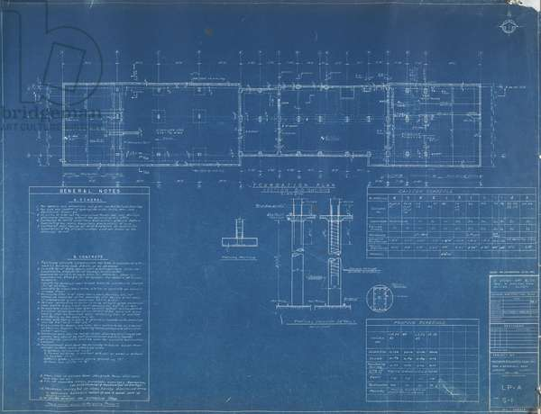 The Statesman - 21 Story Apartment Building: Structural Working Drawings, S1-S14, c.1961 (blueprint on paper)