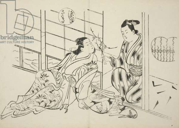 The Sakaki Chapter from The Tale of Genji (Genji Sakaki), from a series of Genji parodies, c.1710 (woodblock print)