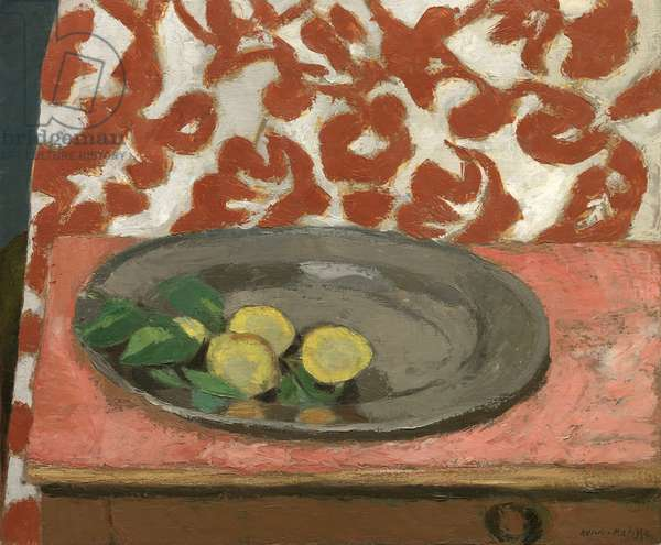 Lemons on a Pewter Plate, 1926 (reworked in 1929) (oil on canvas)