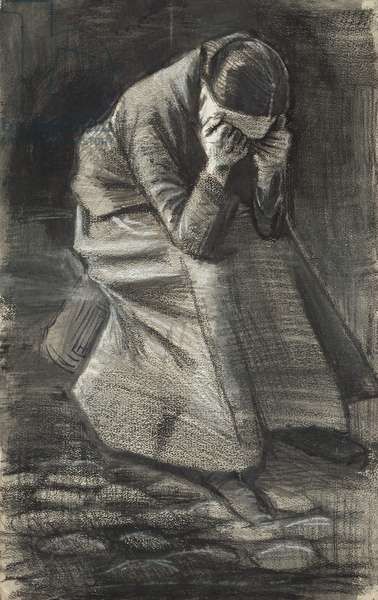 Weeping Woman, 1883 (black and white chalk, with brush and stumping, brush and black and grey wash, and traces of graphite, over a brush and brown ink underdrawing on ivory wove paper)