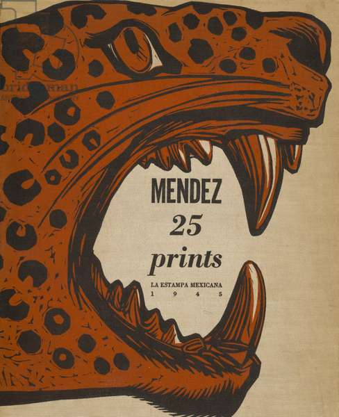 Portfolio Cover for Méndez: 25 Prints, published by La Estampa Mexicana, 1945 (linocut in red & black with letterpress on off-white cloth portfolio cover)