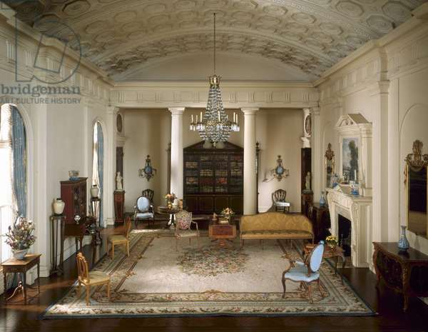 English Drawing Room of the Georgian period, 1770-1800, c.1937 (mixed media)