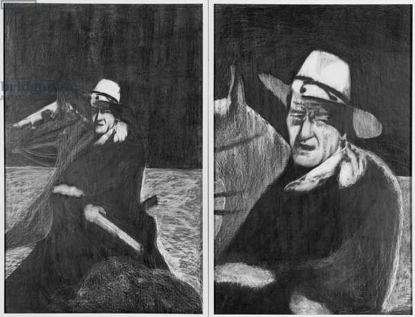 John Wayne diptych, 1963 (grease crayon on gesso panel)