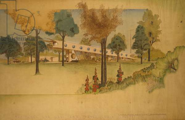 Sydney H. and Geri Rodin House, Libertyville, Illinois: Exterior Perspective Showing South Elevation, c.1961  (coloured pencil on faded diazo lineprint on paper)