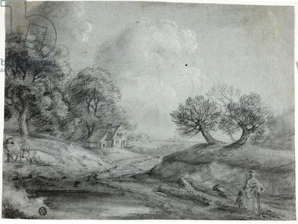 Landscape with Woman and Cows (black chalk with stumping, heightened with white chalk, on blue laid paper)
