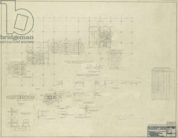 860–880 North Lake Shore Drive: Mezzanine Floor Framing Plan, 11-9-1949 (graphite on linen)
