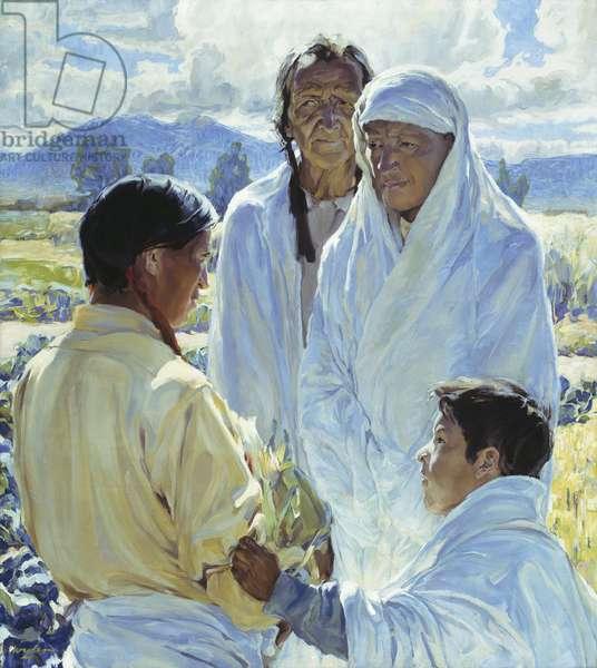 The Solemn Pledge, Taos Indians, 1916 (oil on canvas)