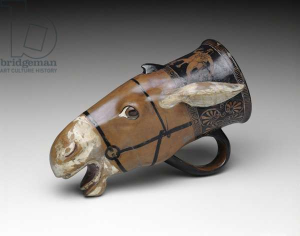 Rhyton (Drinking Vessel) in the Shape of a Donkey Head, c.460 BC (terracotta, red-figure technique)
