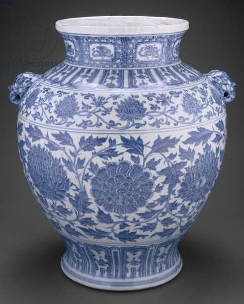 Jar with Lotus and Peony Scrolls and Lion-Mask Handles, inscription dated 1437 (porcelain painted in underglaze blue)