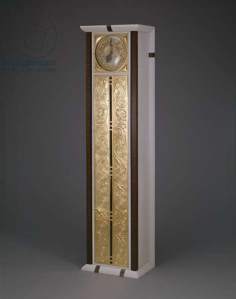 Tall-Case Clock, c.1906 (painted maple, ebony, mahogany, gilt brass, glass, silver plated copper, patinated bronze-bands, & clockworks)