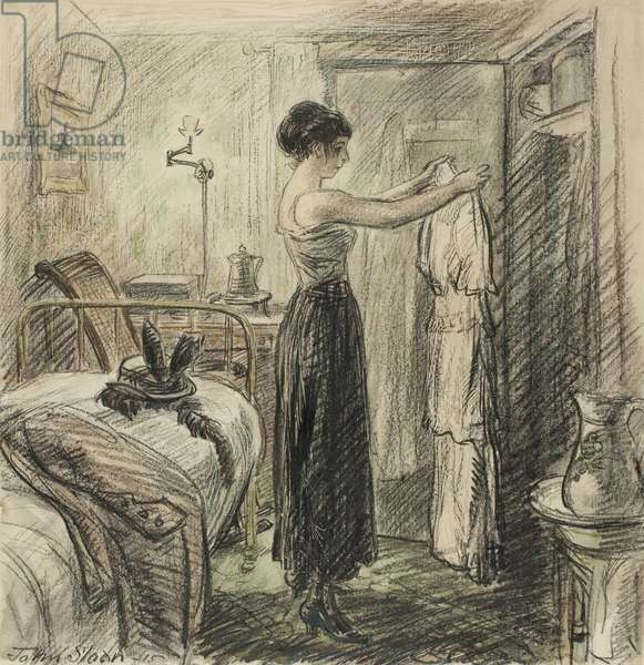 Bachelor Girl, 1915 (black crayon & w/c, with scratching, over touches of graphite, on ivory wove paper, laid down on cream wove paper)