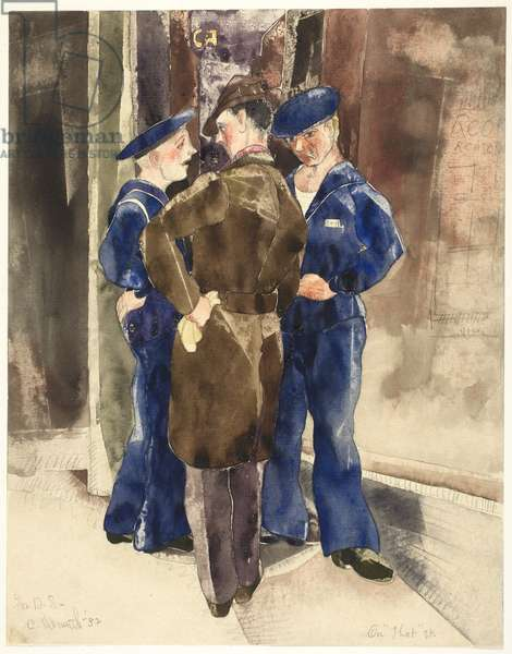 On That Street, 1932 (w/c over graphite on paper, laid down on board)