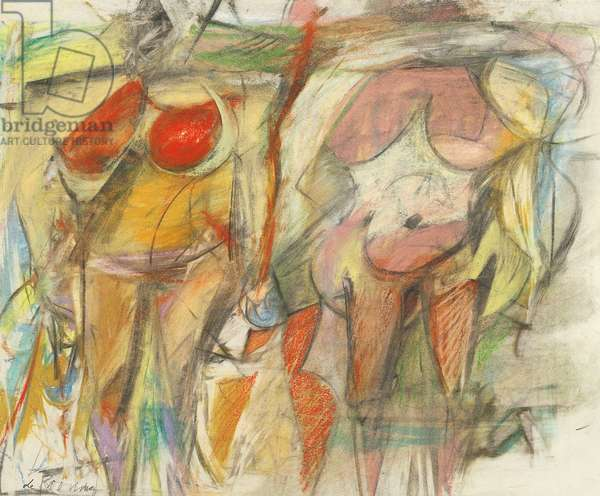 Two Women's Torsos, 1952 (pastel & charcoal on ivory wove paper)