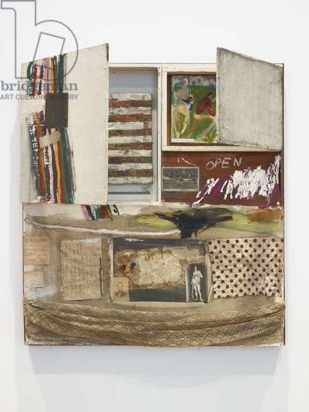 Short Circuit (Combine Painting), 1955 (oil, fabric & paper on wood supports with cabinet)