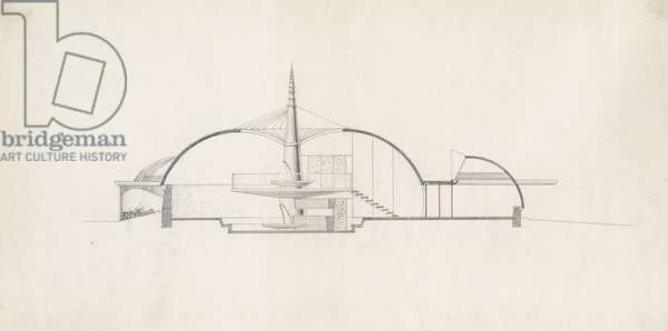 Ruth and Sam Ford House, number 1: Section through House, 1947-49 (graphite on white tracing paper)