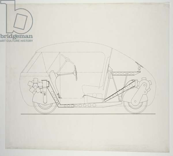 Dymaxion Car for Henry Kaiser: Longitudinal Section, c.1943 (ink on tracing paper)